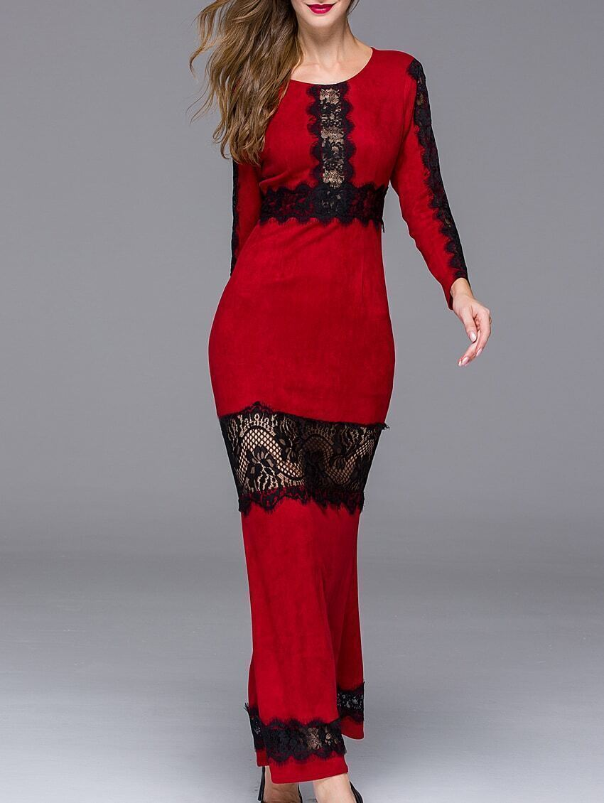 Red Round Neck Long Sleeve Contrast Lace Dress
