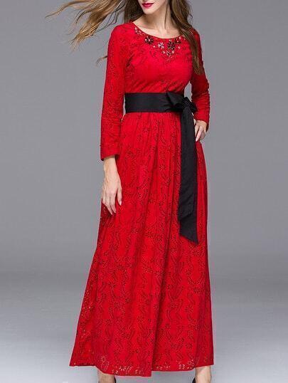Red Round Neck Long Sleeve Hollow Beading Tie-Waist Dress