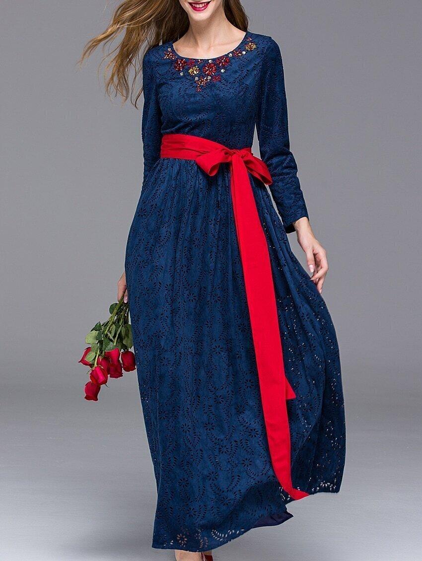 Navy Round Neck Long Sleeve Hollow Beading Tie-Waist Dress