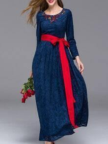 Navy Round Neck Long Sleeve Hollow Beading Tie-Waist Dress
