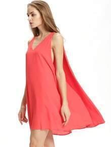 Red Sleeveless V Neck Dress