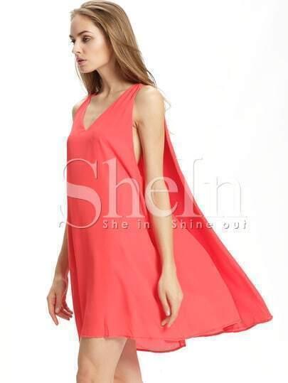 Vestito smanicato scollo a V rosso