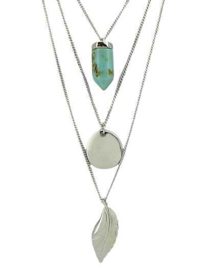 Silver Plated Leaf Cricle Fake Turquoise Pendant Necklace pictures