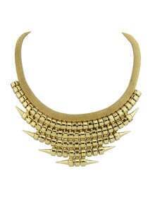 Punk Style Gold Plated Spike Chunky Statement Necklace