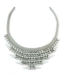 Punk Style Silver Plated Spike Chunky Statement Necklace