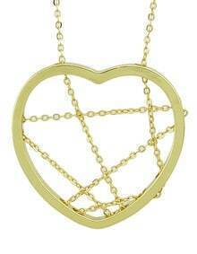Gold Plated Long Unique Heart Pendant Necklace