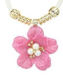 Simple Plastic Flower Purple Pendant Necklace