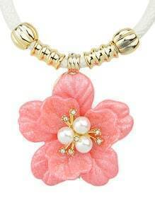 Simple Plastic Flower Pink Pendant Necklace
