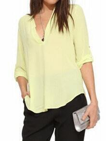 Yellow V Neck Loose Chiffon Blouse