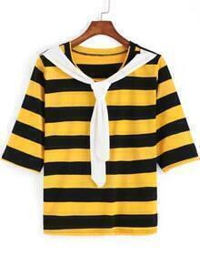 Black Yellow Striped Knotted Loose Blouse