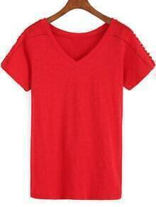 Red V Neck Hollow Loose T-Shirt