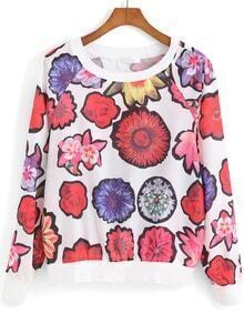 Multicolor Round Neck Floral Loose Sweatshirt
