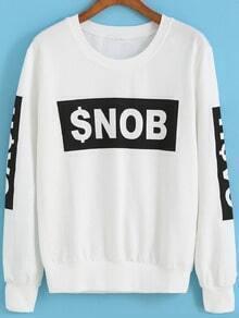 White Round Neck SNOB Print Loose Sweatshirt