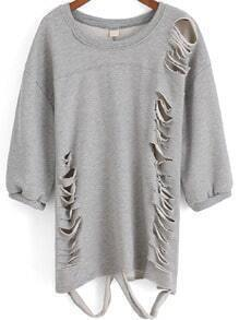 Grey Round Neck Ripped Loose Sweatshirt