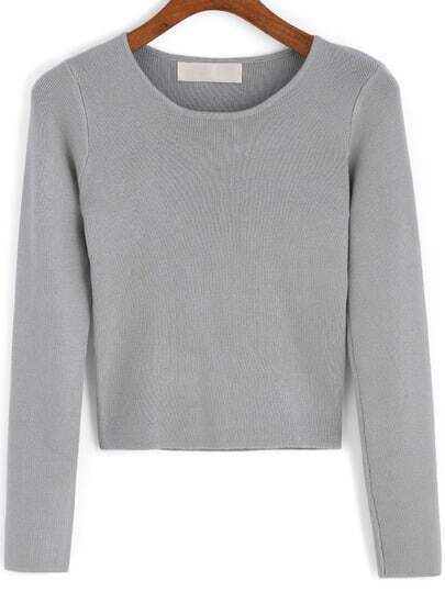 Grey Round Neck Knit Crop Sweater