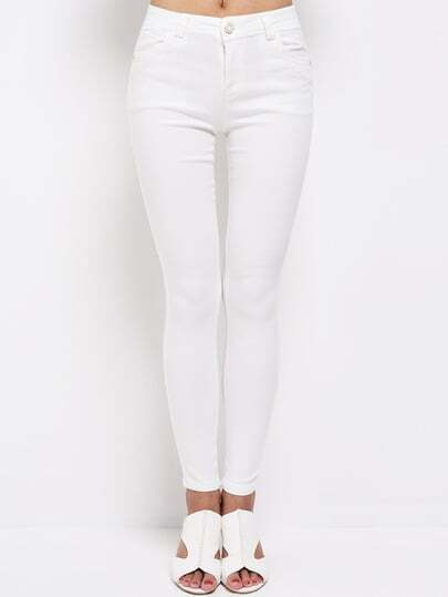 White Slim Embroidered Pockets Pant