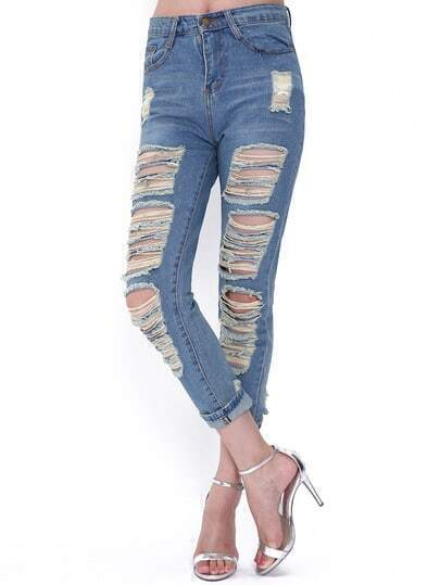 Blue Vintage Ripped Denim Pant