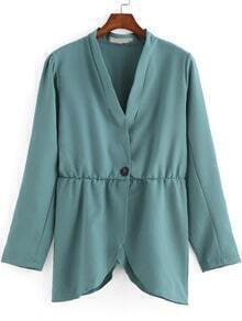 Green V Neck Button Asymmetrical Coat