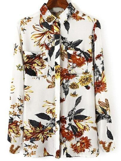 Multicolor Lapel Long Sleeve Floral Pockets Blouse