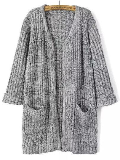 Dark Grey Long Sleeve Pockets Knit Cardigan