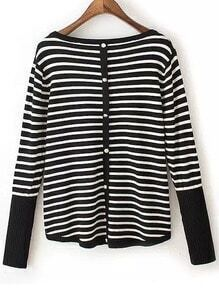 Black White Round Neck Striped Sweater