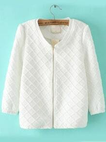 White Long Sleeve Plaid Zipper Coat
