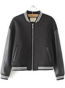Black Stand Collar Hollow Crop Jacket