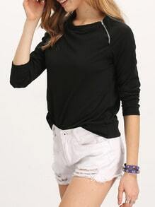 Black Long Sleeve With Zipper T-Shirt