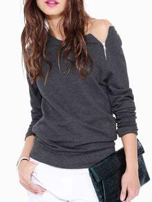 Grey Long Sleeve With Zipper T-Shirt