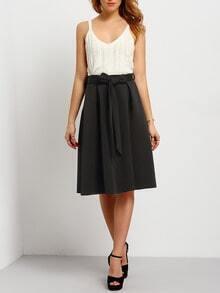 Black Tie-waist Flare Midi Skirt