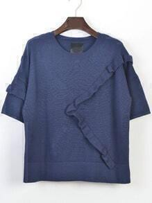 Blue Fungus Edge Knit Sweater