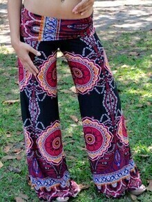 Multicolor Elastic Waist Wide Leg Floral Print Pant