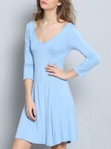 Sky Blue V Neck Flare Dress