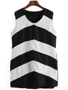 Black And White V Neck Striped Shift Dress