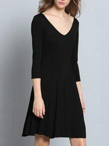 Black V Neck Flare Dress