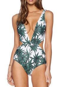 Green Bamboo Print Swimwear