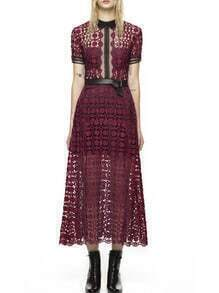 Wine Red Contrast Collar Sheer Mesh Dress