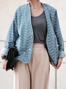 Blue Frayed Zipper Denim Coat