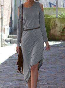 Grey Charcoal Long Sleeve Off The Shoulder Asymmetric Dress