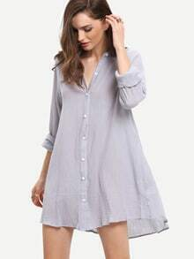 Grey Chemise Long Sleeve High Low Dress