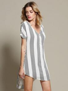 White Short Sleeve V Neck Striped High Low Dress