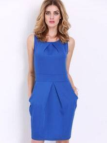 Blue Sleeveless Pockets Zipper Dress