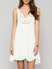 White Spaghetti Strap Backless Crochet Lace Dress