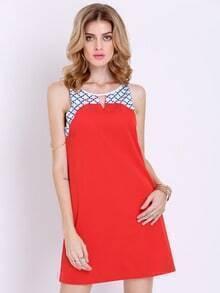 Orange Sleeveless Plaid Color Block Dress