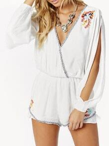 White Split Sleeve V Neck Embroidered Playsuit