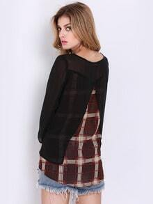 Black Long Sleeve Contrast Plaid T-Shirt
