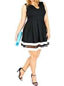 Black U Cut Striped Hem Flare Plus Dress