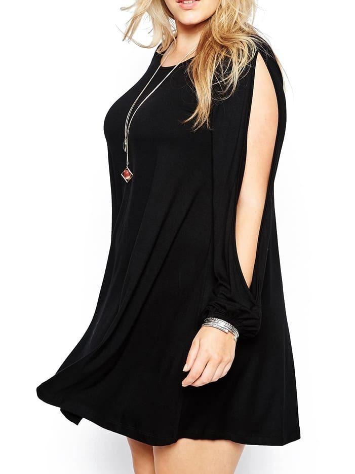 Black Slit Sleeves Plus Dress