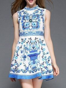 White and Blue Porcelain Sleeveless Jacquard Beading Dress