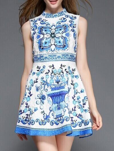 White and Blue Porcelain Sleeveless Jacquard Beading Dress
